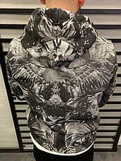 Худи толстовка мужская серая с капюшоном серая с принтом орёл, фото 2