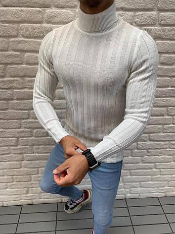 Мужской стильный гольф облегающий белый кремовый с горлом, фото 2