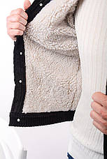 Куртка пиджак мужская вельветовая чёрная на меху стильная, фото 3