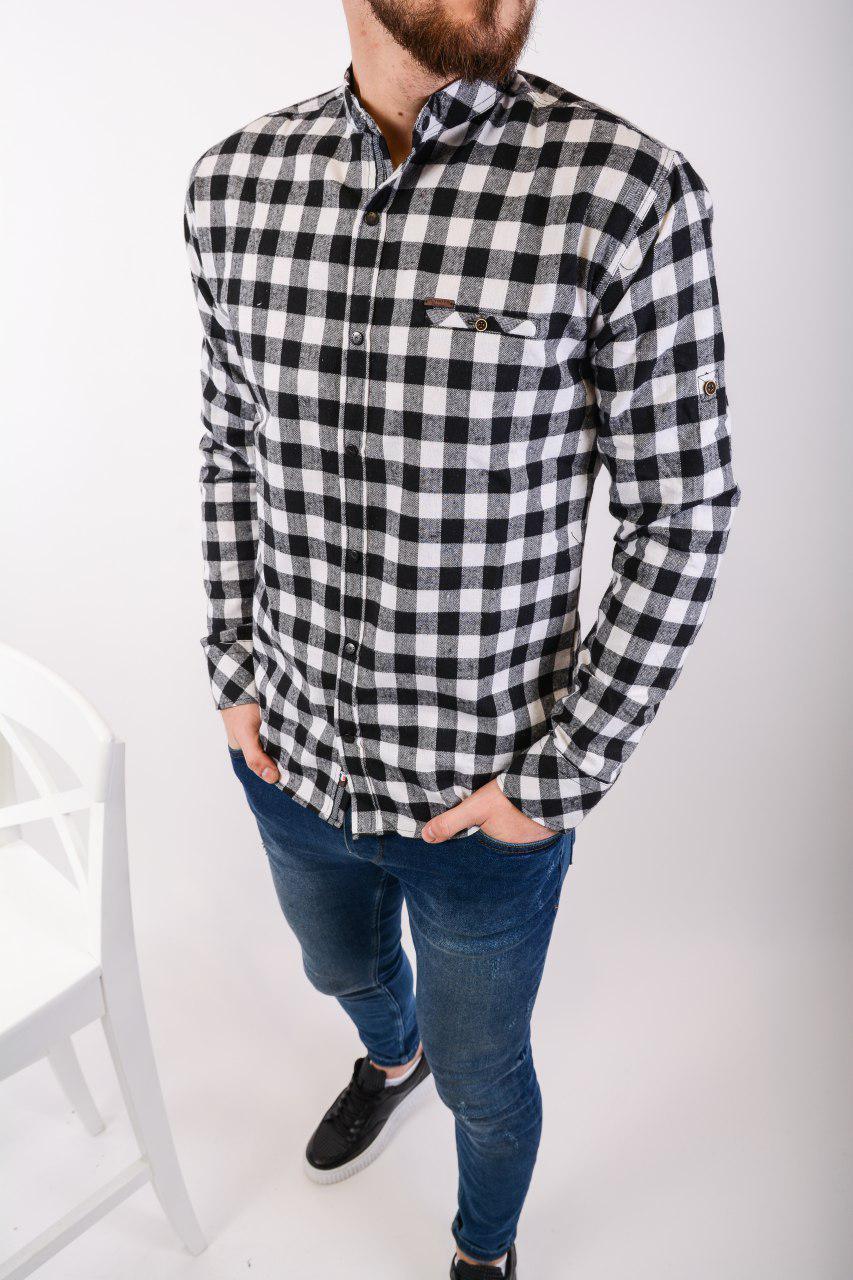 Рубашка тёплая мужская в клетку на пуговицах чёрно-белая Байка Турция