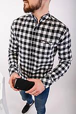 Рубашка тёплая мужская в клетку на пуговицах чёрно-белая Байка Турция, фото 2