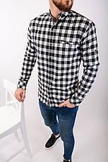 Рубашка тёплая мужская в клетку на пуговицах чёрно-белая Байка Турция, фото 3