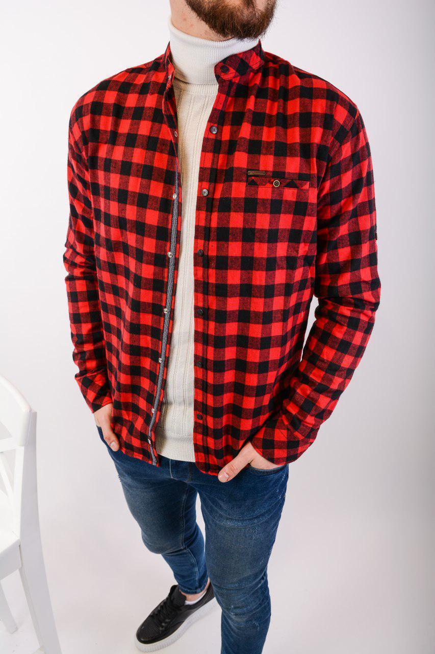 Сорочка тепла чоловіча в клітку на гудзиках чорно-червона Байка Туреччина