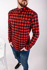 Сорочка тепла чоловіча в клітку на гудзиках чорно-червона Байка Туреччина, фото 3