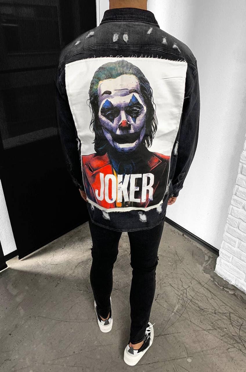 Куртка-рубашка мужская джинсовая черная с принтом Джокер