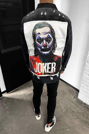 Куртка-рубашка мужская джинсовая черная с принтом Джокер, фото 2