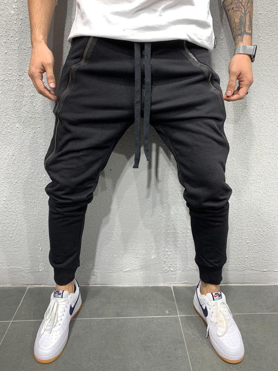 Спортивні штани чоловічі стильні чорні, завужені молодіжні хайповые