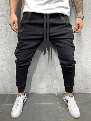 Спортивні штани чоловічі стильні чорні, завужені молодіжні хайповые, фото 2