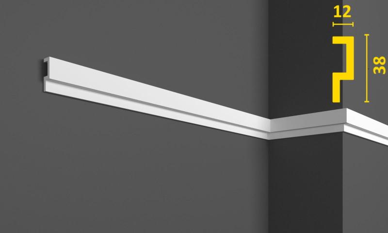Молдинг белого цвета на стену 38 мм х 12 мм, 2,0 м