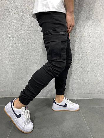 Джинсы мужские чёрные стильные с карманами на резинках зауженные, фото 2