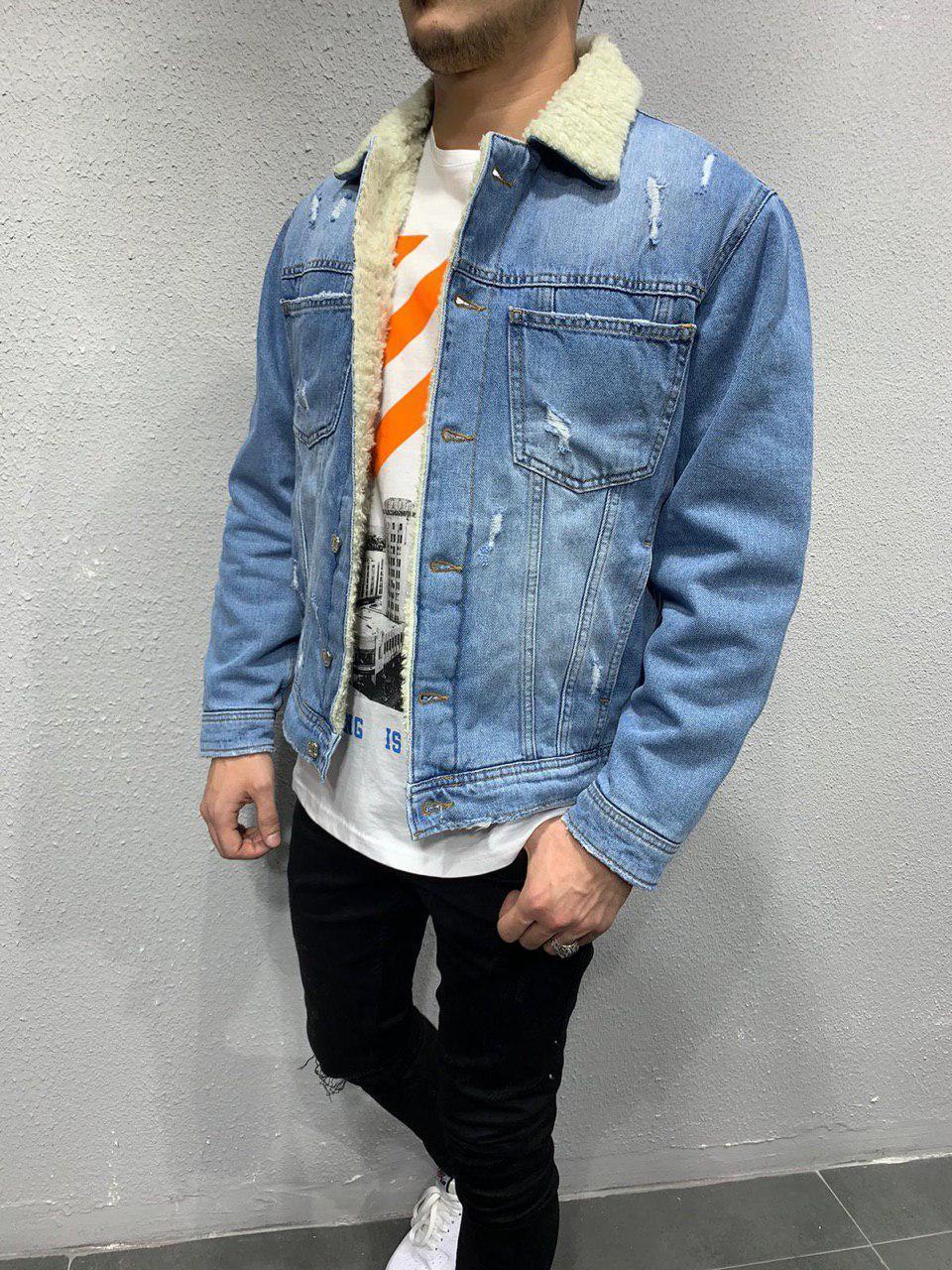 Куртка мужская джинсовая  на меху синяя голубая рукав на синтепоне