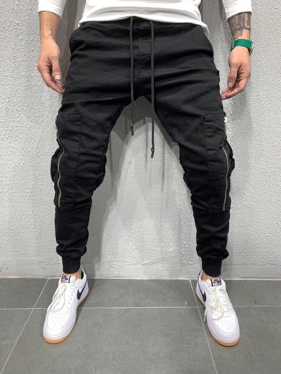 Джинсы мужские чёрные стильные с карманами стильные на резинке