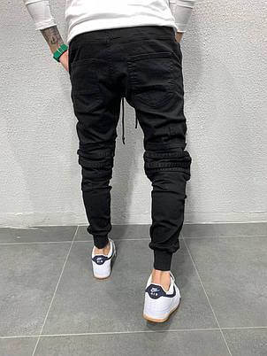 Джинсы мужские чёрные стильные с карманами стильные на резинке, фото 2