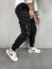 Джинсы мужские чёрные стильные с карманами стильные на резинке, фото 3