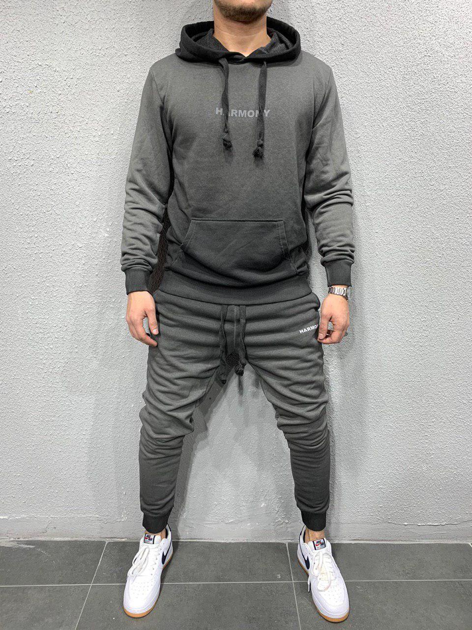 Мужской спортивный костюм стильный хайповый молодёжный серый  кенгуру+штаны