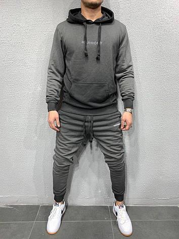 Мужской спортивный костюм стильный хайповый молодёжный серый  кенгуру+штаны, фото 2