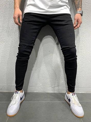 Джинси чоловічі чорні, завужені по фігурі стильні однотонні, фото 2