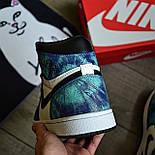 Чоловічі кросівки Nike Air Jordan 1 Retro High 1 'Tie-Dye' голубі осінь-весна. Живе фото. Репліка, фото 5