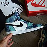 Чоловічі кросівки Nike Air Jordan 1 Retro High 1 'Tie-Dye' голубі осінь-весна. Живе фото. Репліка, фото 4