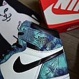 Чоловічі кросівки Nike Air Jordan 1 Retro High 1 'Tie-Dye' голубі осінь-весна. Живе фото. Репліка, фото 6