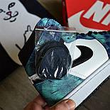 Чоловічі кросівки Nike Air Jordan 1 Retro High 1 'Tie-Dye' голубі осінь-весна. Живе фото. Репліка, фото 3