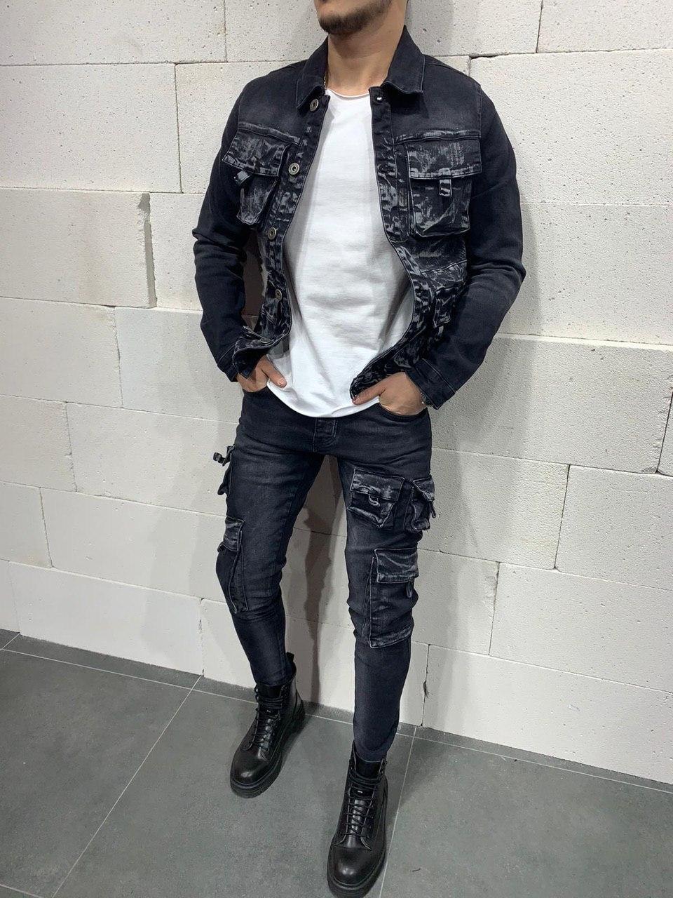 Куртка мужская джинсовая чёрно-серая с карманами стильная Турция