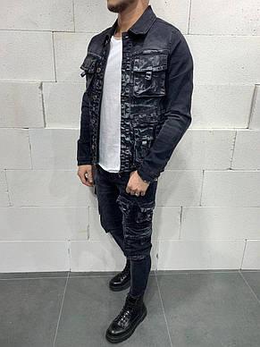 Куртка мужская джинсовая чёрно-серая с карманами стильная Турция, фото 2