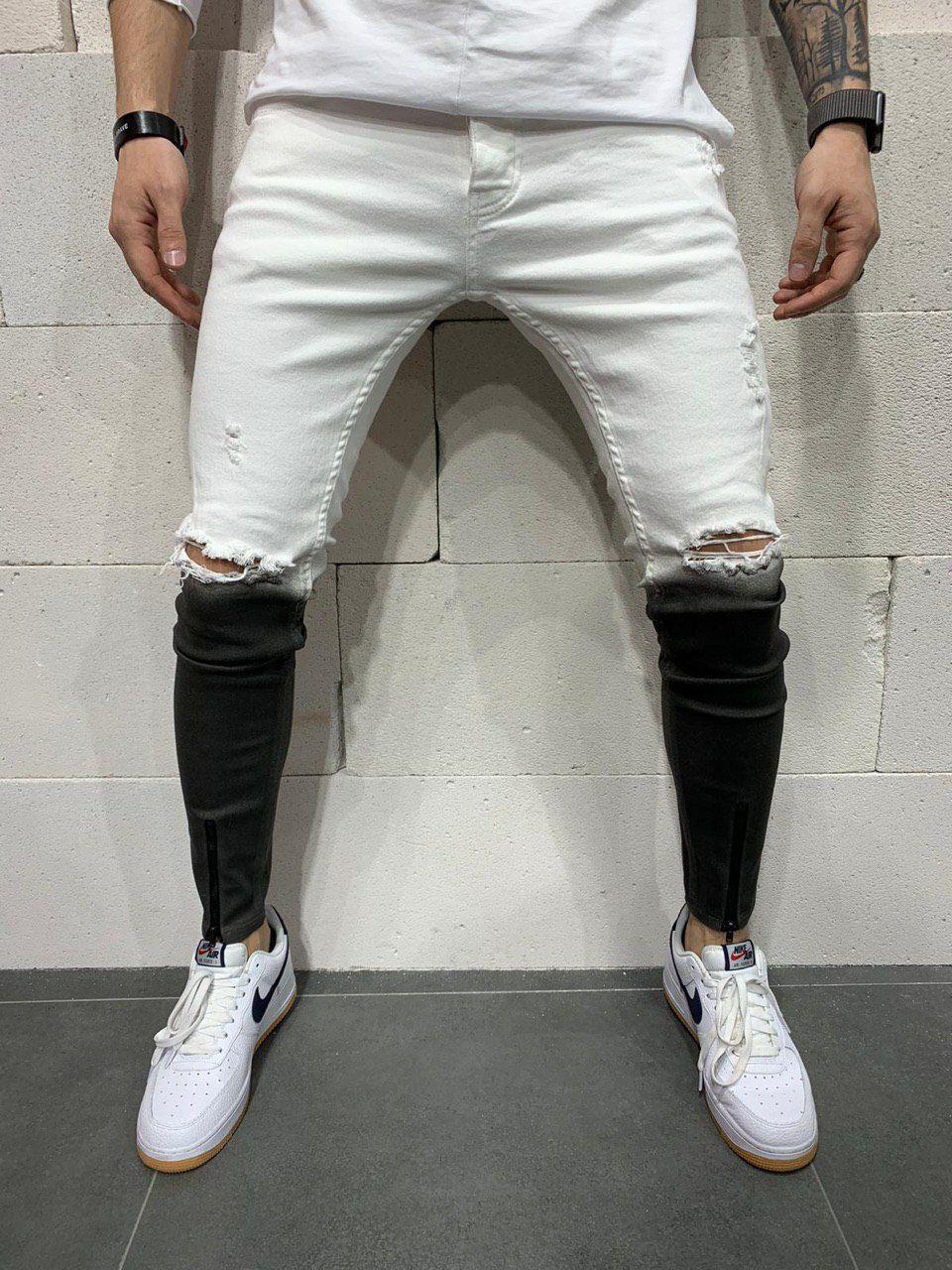 Джинси чоловічі чорні з рваними колінами на блискавки внизу чорно-білі