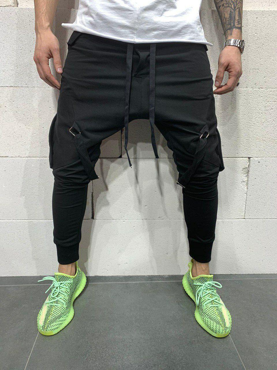 Спортивные штаны мужские стильные чёрные