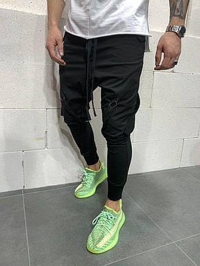 Спортивные штаны мужские стильные чёрные, фото 2
