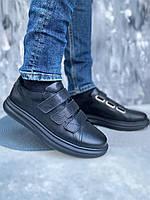 Удобные и красивые мужские туфли из натуральной кожи на липучках, размер от 40 до 45