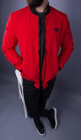 Бомбер стильний чоловічий демісезонний на блискавці червоний однотонний, фото 2