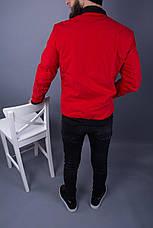 Бомбер стильний чоловічий демісезонний на блискавці червоний однотонний, фото 3