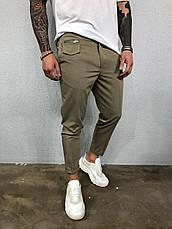 Мужские брюки бежевые хаки стильные молодёжные укороченные зауженные, фото 2