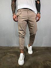 Мужские брюки бежевые хаки стильные молодёжные укороченные зауженные, фото 3