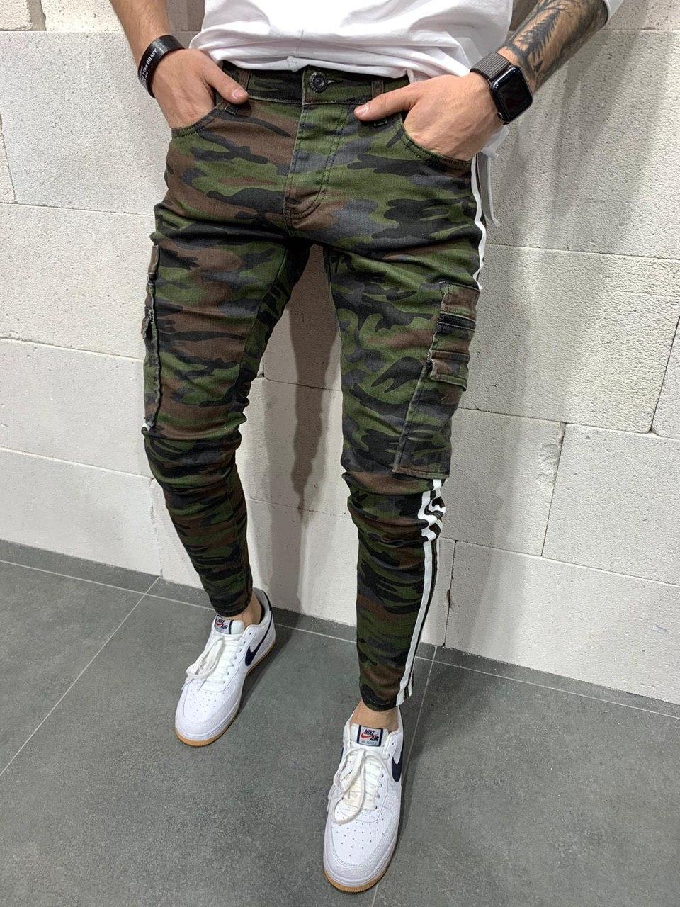 Джинси чоловічі камуфляжні стильні з кишенями Туреччина