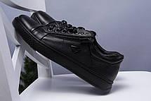 Чёрные мужские кеды кожаные стильные  на шнуровке, фото 2