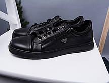 Чёрные мужские кеды кожаные стильные  на шнуровке, фото 3