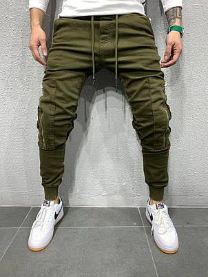 Джинси чоловічі зелені хакі завужені з кишенями Туреччина, фото 2
