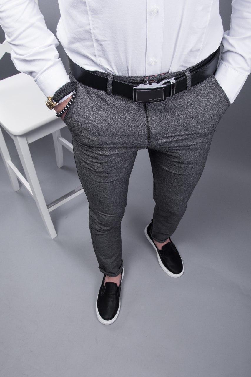 Брюки мужские стильные серые зауженные повседневные