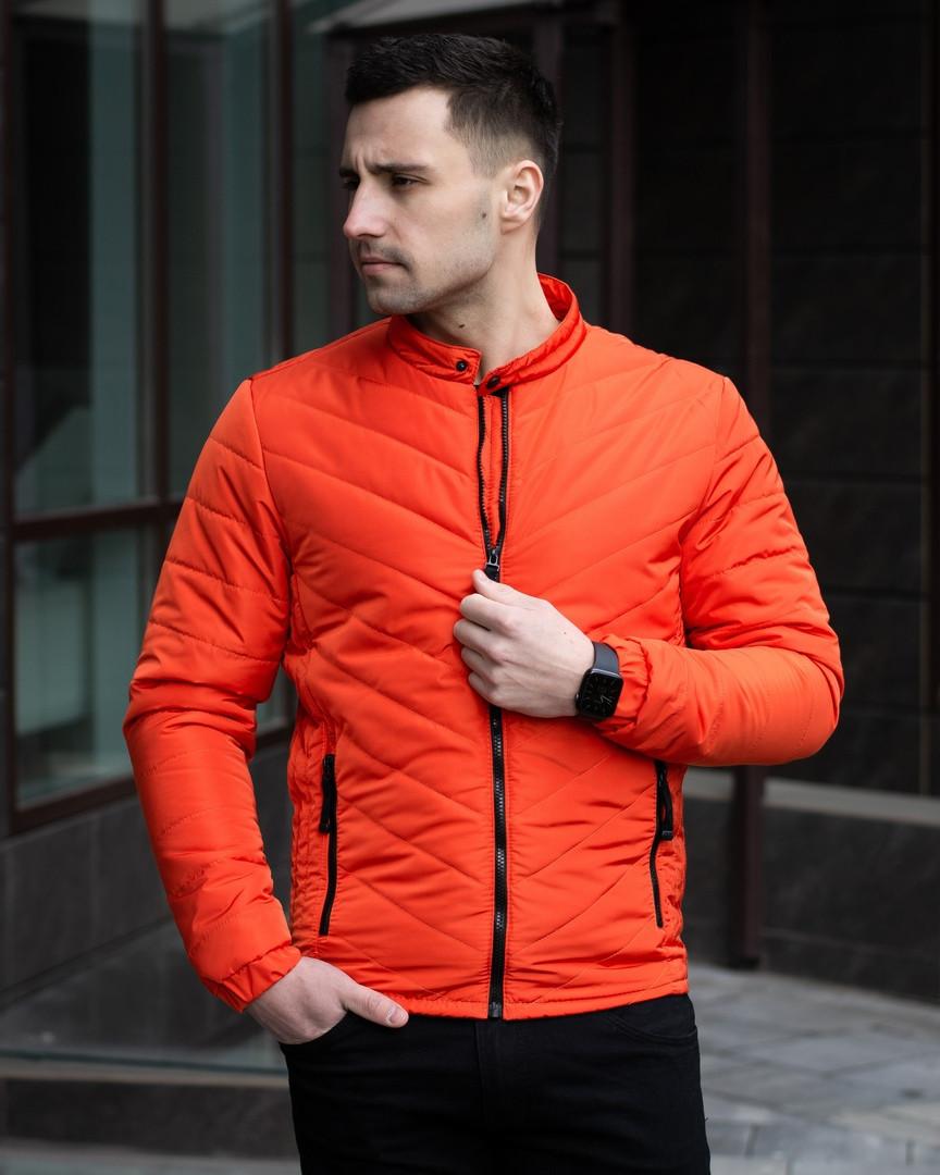 Куртка мужская демисезонная  стильная оранжевая на холлофайбере на молнии