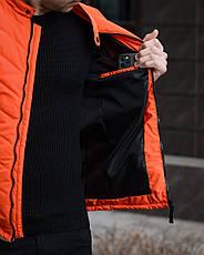 Куртка мужская демисезонная  стильная оранжевая на холлофайбере на молнии, фото 3