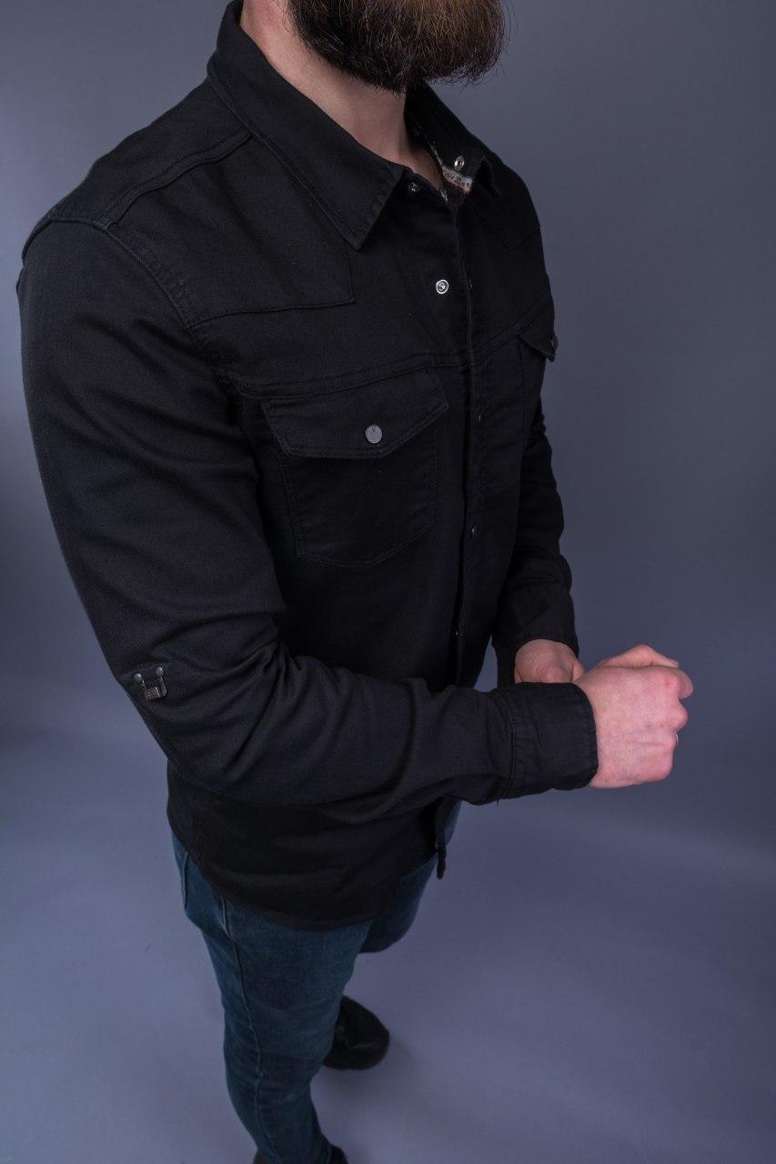 Рубашка мужская под джинс из плотной ткани стильная чёрная