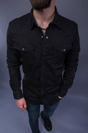 Рубашка мужская под джинс из плотной ткани стильная чёрная, фото 2