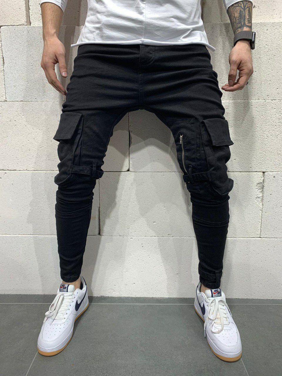 Джинси чоловічі стильні чорні з кишенями з ременями завужені Туреччина