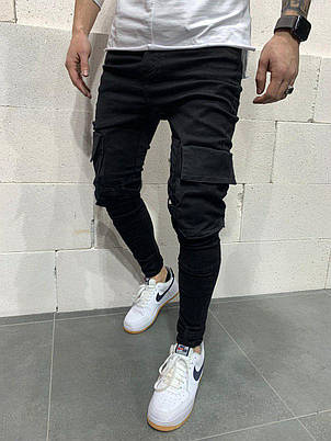 Джинси чоловічі стильні чорні з кишенями з ременями завужені Туреччина, фото 2