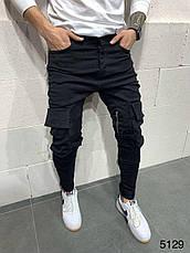 Джинси чоловічі стильні чорні з кишенями з ременями завужені Туреччина, фото 3