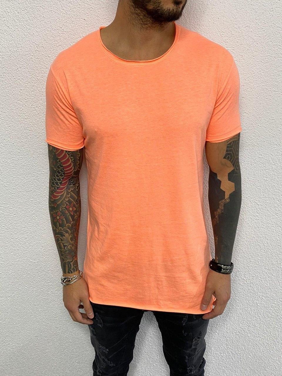 Футболка мужская удлиненная желтая, оранжевая, розовая однотонная хлопок Турция