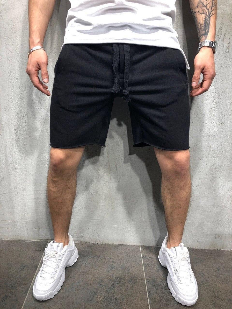 Чоловічі шорти за коліно, чорні трикотажні