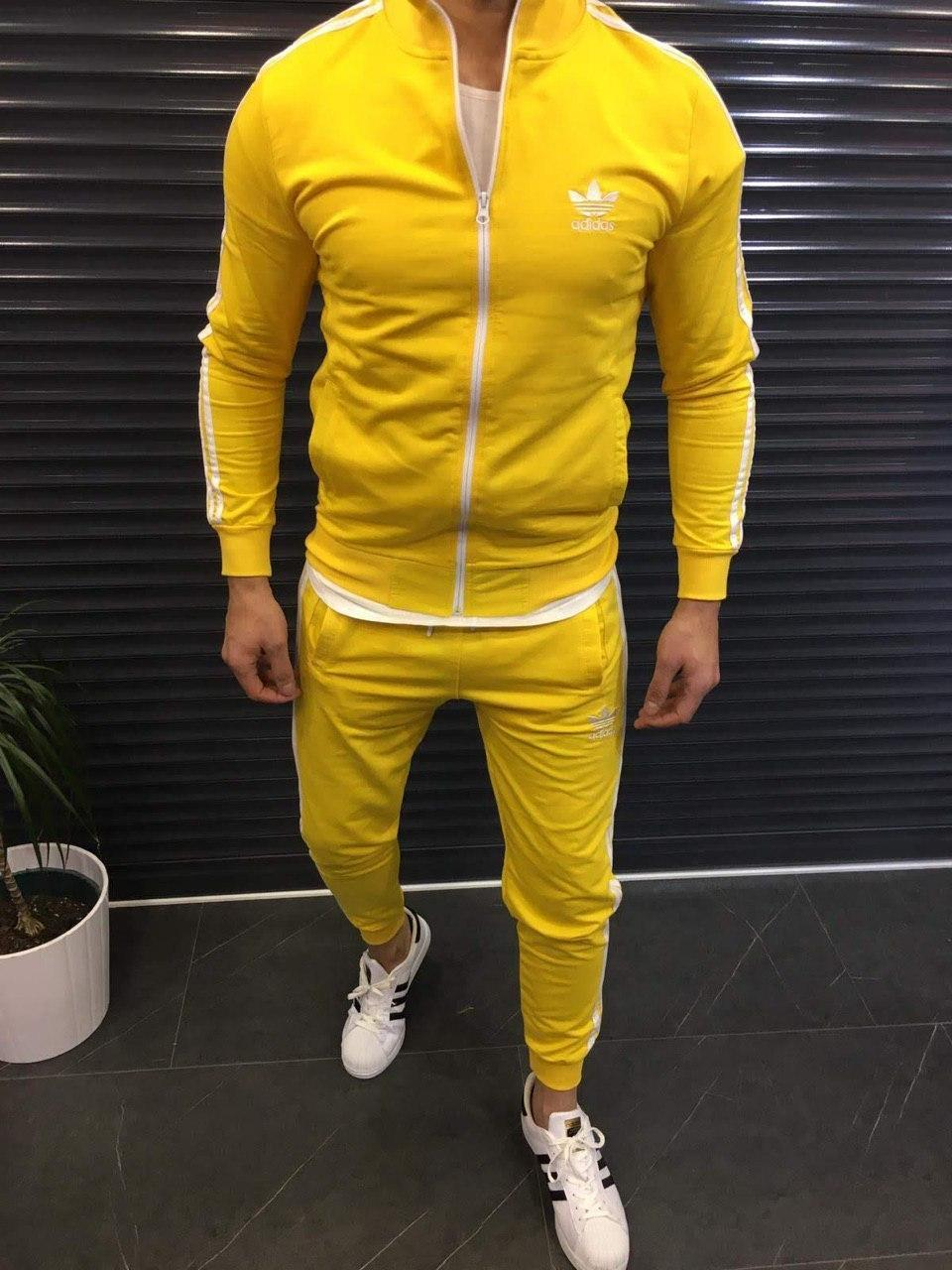 Спортивный костюм мужской желтый с белыми полосами с олимпийкой Adidas